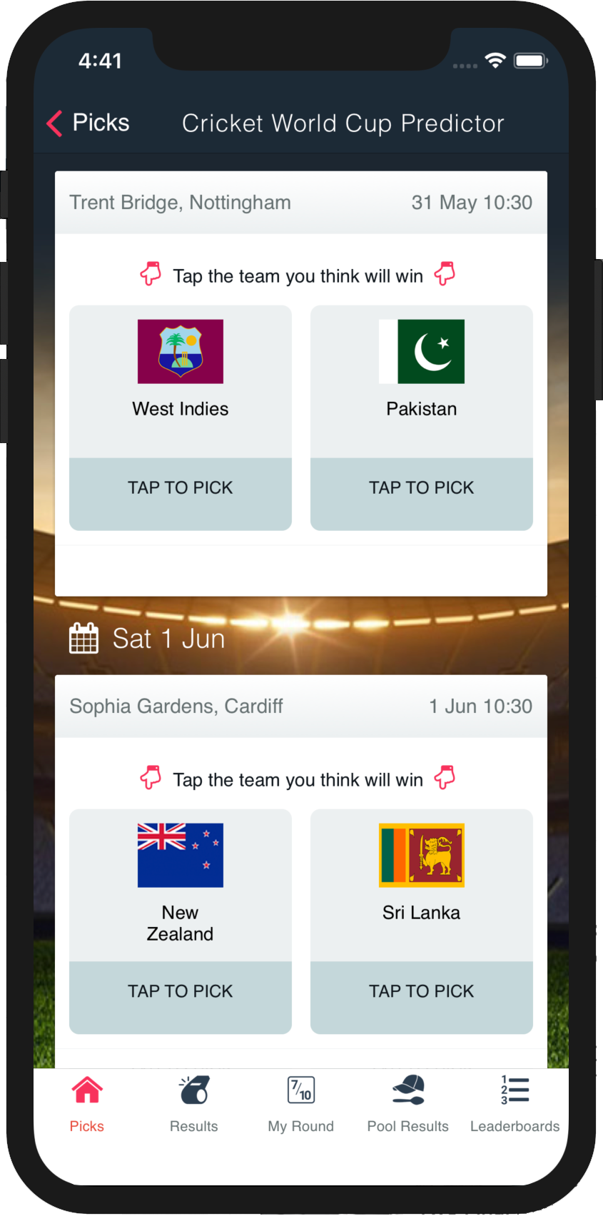 Superbru - Cricket World Cup 2019 Predictor Game